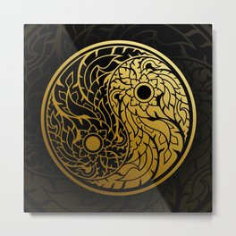 Thai Art Pattern In The Shape Of A Golden Yin Yang In A Circle. Metal Print