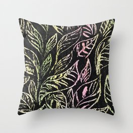 green and pink plant pattern Throw Pillow