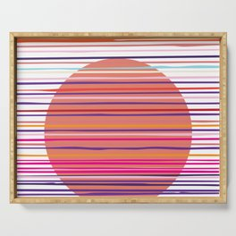 Sunset colorful stripes and sun pattern Serving Tray