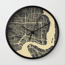 Jacksonville map yellow Wall Clock