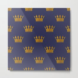 Royal Blue with Gold Crowns Metal Print