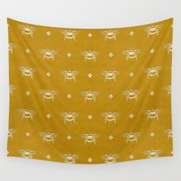 Bee Stamped Motif on Mustard Gold Wall Tapestry