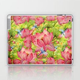 Floral Lotus Flowers Pattern with Dragonfly Laptop & iPad Skin