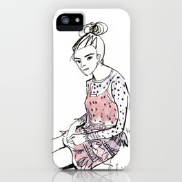 Lolita in a sheer pink polka dot dress  iPhone Case