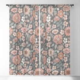 70s flowers - 70s, retro, spring, floral, florals, floral pattern, retro flowers, boho, hippie, earthy, muted Sheer Curtain