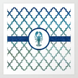 Lobster: Tropical Water Moroccan Pattern Art Print