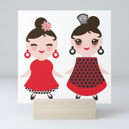 Spanish Woman flamenco dancer. Kawaii cute face with pink cheeks and winking eyes. Gipsy girl Mini Art Print