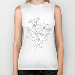 Floral one line drawing - Hibiscus Biker Tank