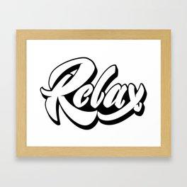 Relax lettering Framed Art Print