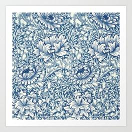 William Morris Navy Blue Botanical Pattern 8 Art Print