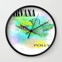 nirvana Wall Clocks featuring polly / nirvana by Dan Solo Galleries