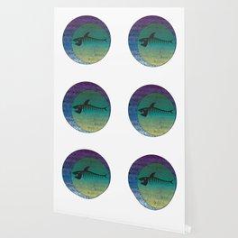 Retro Style Shark Bones Fishbone Skeleton Geometric Eclipse  design Wallpaper