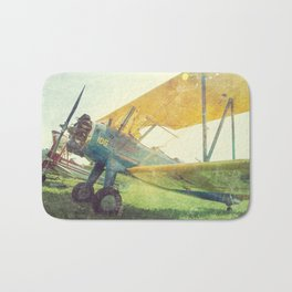 Preflight Biplane // Antique Airplanes Bath Mat