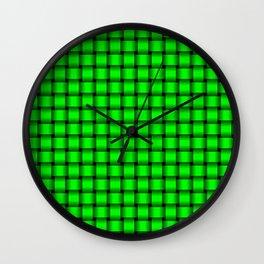 Small Neon Green Weave Wall Clock