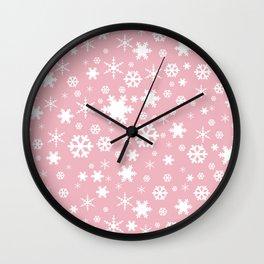 White & blush pink snowflake pattern Wall Clock