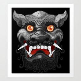 Happy Lion (Black) Art Print