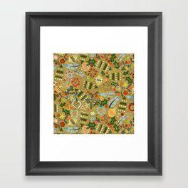 vintage christmas gold Framed Art Print