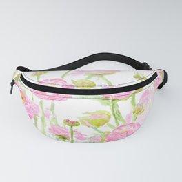 pink buttercup ranunculus field watercolor Fanny Pack