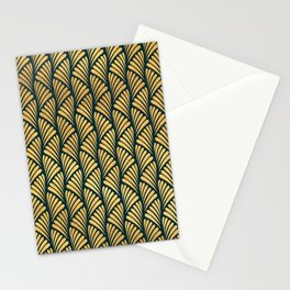 Gold & Dark Teal Art Deco Palm Leaves Pattern Stationery Cards