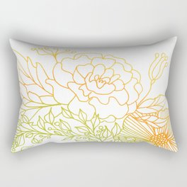 Tangerine and Olive Flowery Linocut Wreath Rectangular Pillow