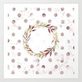 Watercolour spot wreath Art Print