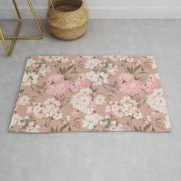 Vintage Japanese Garden, Sakura Cherry Blossom Flowers and Sparrow Birds Pattern in Tan and Blush  Rug