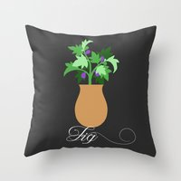 fig Throw Pillows featuring fig by Little Lost Garden