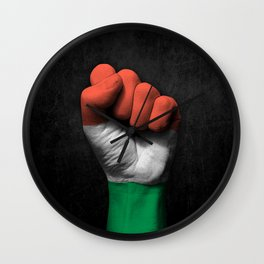 Hungarian Flag on a Raised Clenched Fist Wall Clock