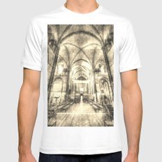 Rochester Cathedral Vintage  Mens Fitted Tee MEDIUM White