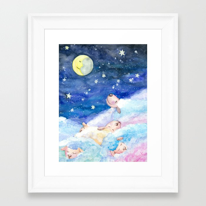 Moony Sheep Framed Art Print
