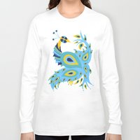 peacock Long Sleeve T-shirts featuring Peacock by Cat Coquillette