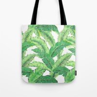 banana leaf Tote Bags featuring Banana for banana leaf by Indulgencedecor