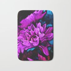 Lavender Flowers with Blue Petals and some Pink Bath Mat