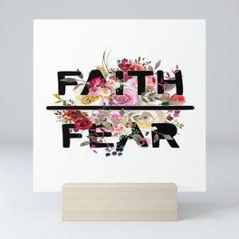 Christian Quote - Faith Over Fear - Cute Floral Watercolor Typography Mini Art Print