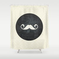 moustache Shower Curtains featuring moustache by StudioAmpersand