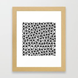 Dog Paws, Traces, Paw-prints - White Black Framed Art Print