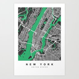 New York Map | Black & Green Colors Art Print