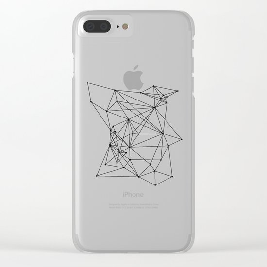 White Geometric Dots and Lines Clear iPhone Case