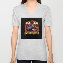 Monster Truck blue on Fire                                          Unisex V-Neck