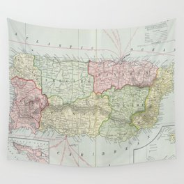 Vintage Map of Puerto Rico (1901) Wall Tapestry