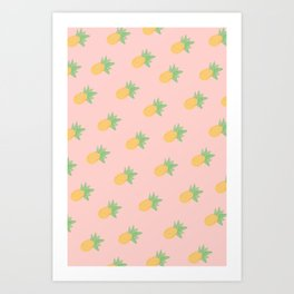 Pineapple - Light Pink Art Print