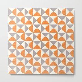 Orange and Gray Retro Minimalist Geometric Pattern Metal Print