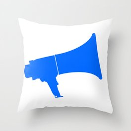 Blue Isolated Megaphone Throw Pillow