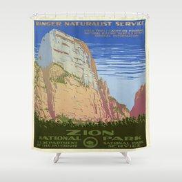 Vintage poster - Zion National Park Shower Curtain
