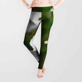 THREE CONTEMPORARY WHITE  DOVES IN GREEN Leggings