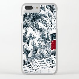 snowfall in the italian alps Clear iPhone Case