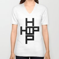 hip hop V-neck T-shirts featuring HIP HOP by Erin Thomas