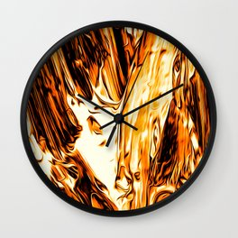Abstract Gold Fire Paint II Wall Clock