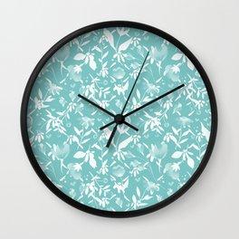Colourscape Summer Floral Pattern Aqua Sky Wall Clock