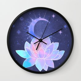 moon lotus flower Wall Clock